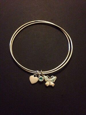 925 Silver Two Strand Bangle With Three Charms