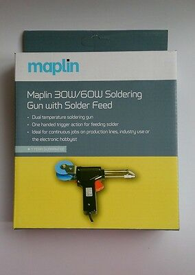New MAPLIN 30W/60W Soldering Gun with Solder Feed - One Hand Trigger Action