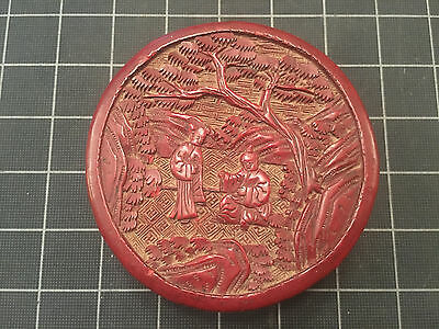 Vintage/antique Chinese Cinnabar Box Round Scholar & Student Flat Top Very Nice