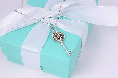"Tiffany & Co Sterling Silver Diamond 1.5"" Daisy Flower Key Pendant 16"" Necklace"