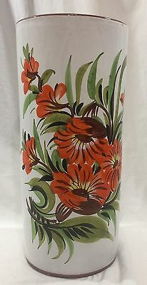 """Vintage 17"""" Hand painted Ceramic Vase Umbrella Cane Stand Floral Made In Italy"""