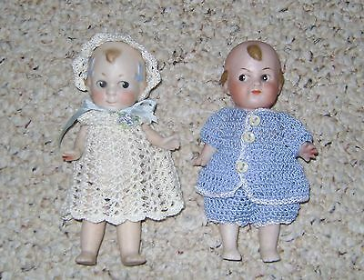 Pair of CUPID ALL BISQUE DOLLS by BUTLER BROS. GERMANY 1916 Cute, FREE Shipping!