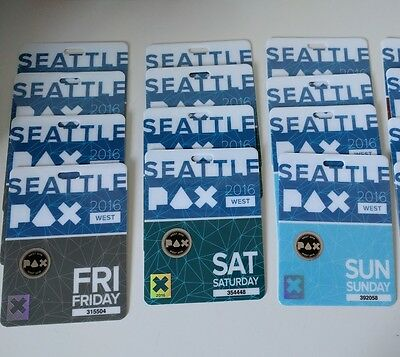 PAX West (Prime) 2017 3 Day Badges Fri Sat Sun