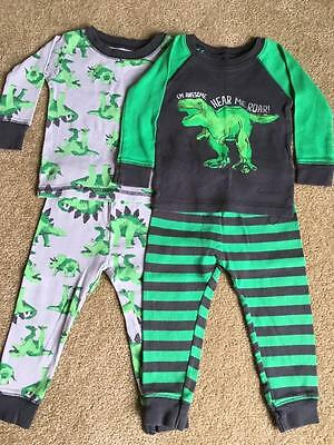 Just One You by Carter's Lot of 2 pair Baby Boy Pajamas Dinosaurs Size 12 M