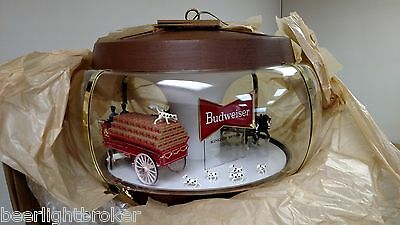 New Vtg Bud Budweiser Beer Clydesdale Carousel Parade Motion Bar Light Pub Sign