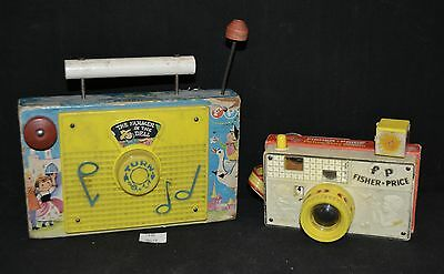 ThriftCHI ~ Vintage Fisher-Price Toys TV Radio Music Box & Picture Story Camera