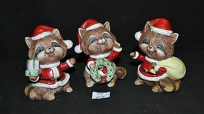 ThriftCHI ~ Homco 5611 Ceramic Holiday Racoon Figurines (3)