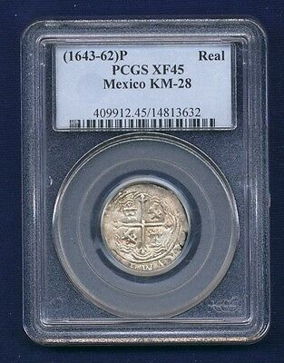 Mexico Spanish Colonial Philip Iv (1643-62) 1 Real Cob Coin Certified Pcgs Xf-45