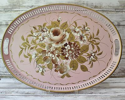 Vintage TOLE Pilgrim Art Oval TRAY Hand Painted Large PINK Floral Metal