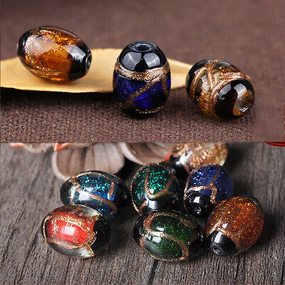 1/5Pcs Oval Shape Lampwork Glass Fancy Gold Sand Buddha Bead Loose Spacer Beads