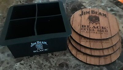 4 Jim Beam Extra-Aged Bourbon Wooden Coasters With Silicone 4- Cube Ice Tray New
