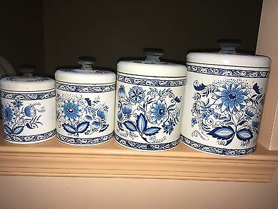 vintage ransburg tins blue onion pattern canisters set of 4