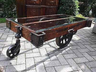 Vintage Industrial Lineberry Cart Coffee Table