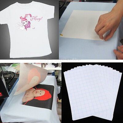 10 Sheets DIY A4 Iron On Inkjet Print Heat Transfer Paper For T-Shirt White Gift