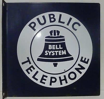"1950's BELL PUBLIC TELEPHONE Porcelain Flange Sign 11"" x 11"" NICE"