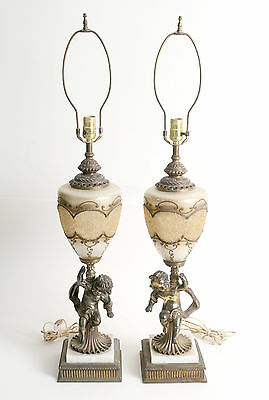 Pair of Vintage Table Lamps w Brass Cherubs & Glass Globe w Gilding Excellent!!