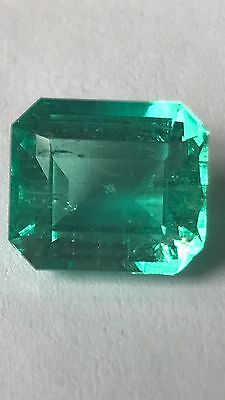 5.84 Ct, Certified Fine Natural Colombian Emerald Loose Gemstone