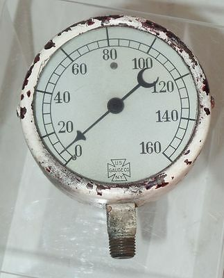 Vtg US Gauge Co NY Steampunk Painted Metal Crescent Needle Pressure Gauge 3x3