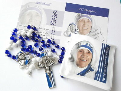 Ghirelli St Mother Teresa of Calcutta Rosary Beads White & Blue Glass Catholic