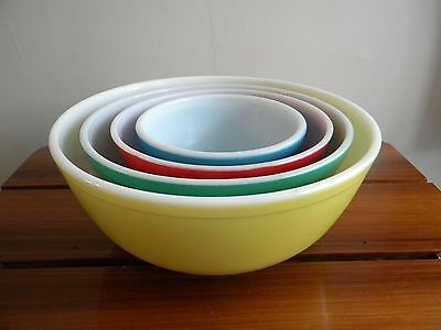 Set Of 4 Vtg Pyrex Primary Colors Nesting Mixing Bowls 441 442 443 444