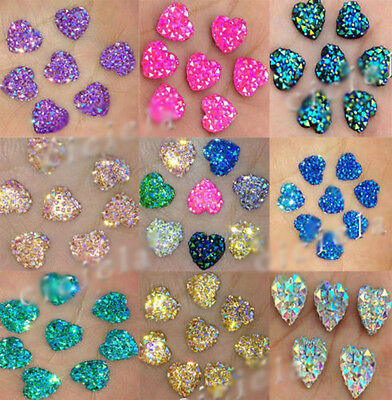 20/50Pcs Heart Shape Rhinestone Flatback Scrapbooking DIY Craft Jewelry Findings