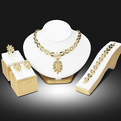 Dubai Gold Plated Leaf Necklace Earrings Bracelet African Wedding Jewelry Sets