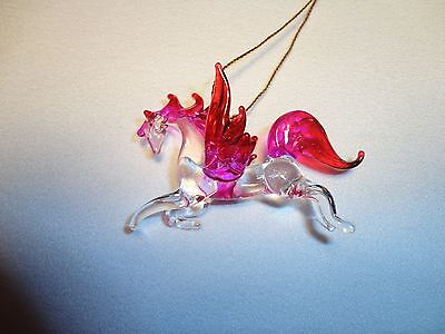 Hanging Pegasus Red Pink Figurine of Blown Glass Crystal