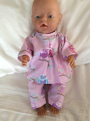 "DOLLS CLOTHES - Pyjamas to fit 17"" Baby Born doll ~ Pink. Owls"