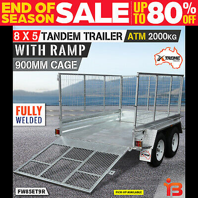 NEW XTREME 8x5 Tandem Box Trailer 900MM CAGE RAMP Welded GALVANISED ATM 2000kg