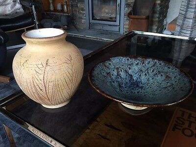 Great  Vintage Studio Pottery Vase and Bowl by Paddy Dean Suffolk