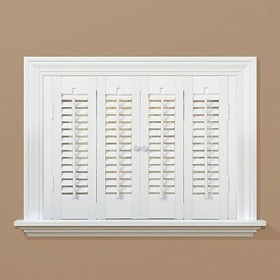 White Interior Shutter Traditional Faux Wood 24 in. x 35 in. Indoor Window