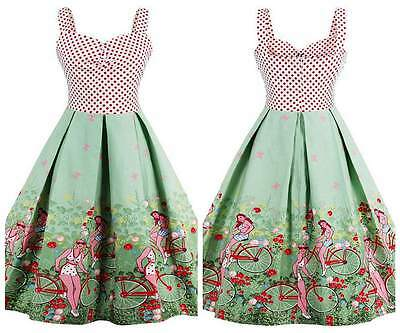 Women's Floral Polka Dot 1950's Vintage Rockabilly Cocktail Party Swing Dress