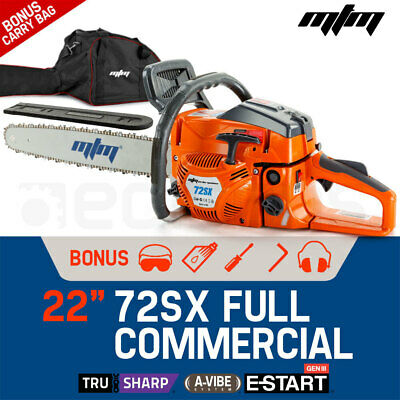 "NEW MTM 72cc Petrol Commercial Chainsaw 22"" Bar Chain Saw E-Start Tree Pruning"