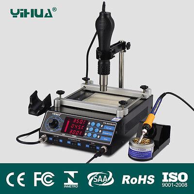 Yihua 853AAA 650W SMD Hot Air Gun+ 60W Soldering Irons +500W Bga Rework Station