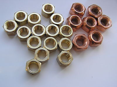 10x Brass Imperial Exhaust Manifold Nut 1//4 UNC High Temperature Nuts