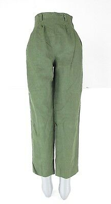 VTG Minimal 90s Green Drab Linen Pleated Tapered High Waisted Trouser Pants 7/8