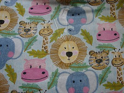 Flannelette Fitted Animal Heads Blue Cot Sheet Handmade