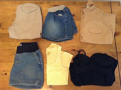 Lot of 6 Summer Maternity Clothes and Bathing Suit Top Sizes Small and Medium