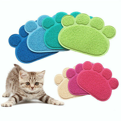 Dog Puppy Paw Shape Placemat Pet Cat Dish Bowl Feeding Food PVC Mat Wipe v1