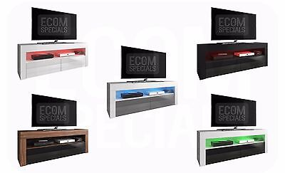 TV Unit Cabinet TV Stand Entertainment Lowboard Luna 140cm, High Gloss Fronts