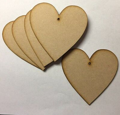 Wooden 100mm(10cm) laser cut 3mm MDF Hearts blank craft shape sign with hole