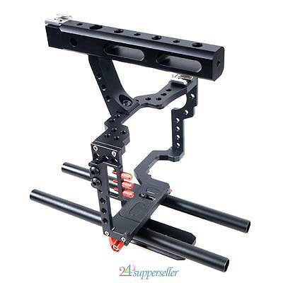 15mm Aluminum Rod Rig DSLR Camera Video Cage+Top Handle Grip for Sony for Canon