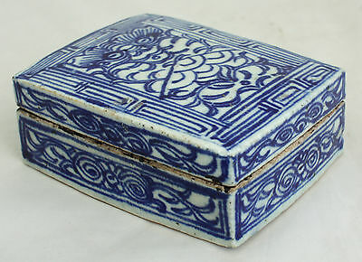 Chinese Qing Dynasty Guangxu Blue & White Porcelain Ink Box