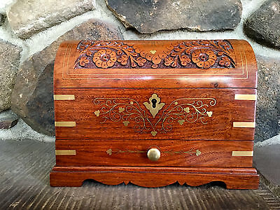 Flawless carved brass inlay jewellery casket