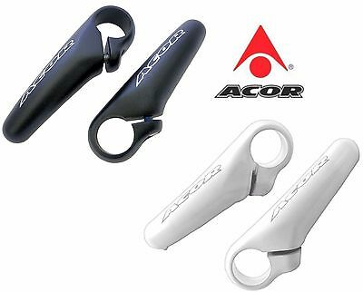 Acor Alloy Mini Bar Ends Black / White 90mm One Piece Ergonomic Design MTB