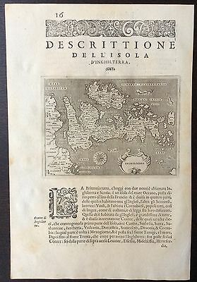 1590 antique map of the British Isles by Girolamo Porro and Tommaso Porcacchi