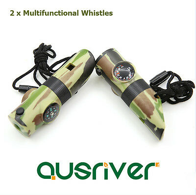 2 x Multifuctional Outdoor Camping Hiking Emergency Whistle Survival Rescue