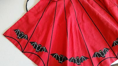 Vintage Halloween Two Sided Reversible Apron Red and Black Bats