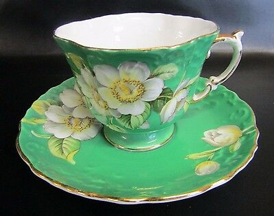 Rare Vintage Aynsley Green Apple Blossom Dogwood Cup & Saucer - Pattern 1087