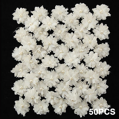 50 Lace Flowers Pearl Edge Trim Wedding Decor Ribbon Applique Sewing DIY Craft